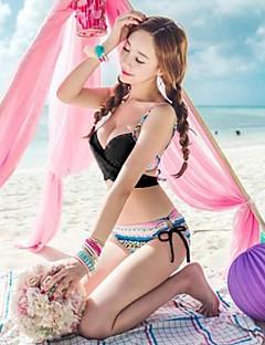 Women's Halter Bikini Floral,Strapped Spandex Print
