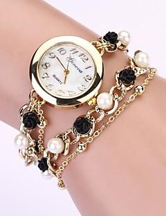 billige Armbåndsure-Dame Quartz Armbåndsur Imiteret Diamant Metal Bånd Perler Elegant Sort