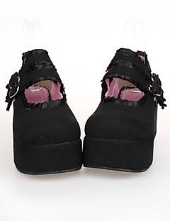 billiga Lolitamode-Skor Klassisk / Traditionell Lolita Punk Lolita Lolita Platå Skor Spets 7cm CM Svart Till PU-läder / Polyuretan Läder