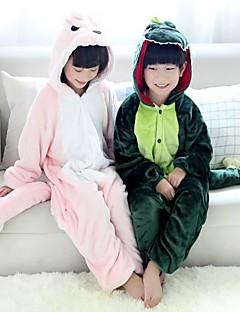 Pijama Kigurumi Dinossauro Pijama Macacão Pijamas Ocasiões Especiais Flanela Tosão Rosa Verde Cosplay Para Criança Pijamas Animais
