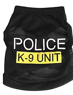 billiga Hundkläder-Katt Hund T-shirt Hundkläder Polis/Militär Svart Blå Rosa Terylen Kostym För husdjur Herr Dam Gulligt Mode