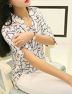 Women'sThe translation Of Black and White Geometric in Shirt Sleeves