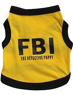 billiga Hundkläder-Katt Hund T-shirt Tröja Hundkläder Bokstav & Nummer Polis/Militär Svart/Gul Cotton Kostym För husdjur