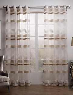 baratos Cortinas Transparentes-Sheer Curtains Shades Sala de Estar Xadrez Poliéster Jacquard