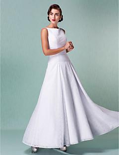 billiga A-linjeformade brudklänningar-A-linje Bateau Neck Ankellång Heltäckande spets Bröllopsklänningar tillverkade med Veckad av LAN TING BRIDE® / Liten vit klänning