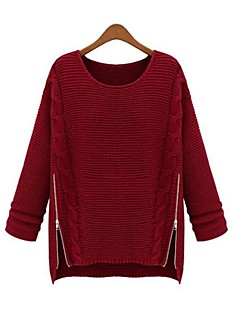 Women's Regular Pullover,Solid Long Sleeves Cotton Linen Others Spring Fall Medium Micro-elastic