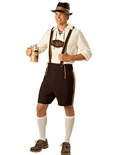 cheap -Bavarian Oktoberfest Cosplay Costume Party Costume Men's Halloween Oktoberfest Festival / Holiday Halloween Costumes Brown Patchwork