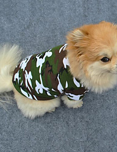 abordables -Chien Tee-shirt Vêtements pour Chien Mode camouflage Vert Costume Pour les animaux domestiques