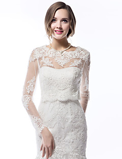 cheap Wedding Wraps-Long Sleeves Lace Wedding Wedding  Wraps With Appliques Coats / Jackets
