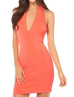 billige Lagersalg-richcoco® kvinners sexy ermeløs v hals ryggløse kjole