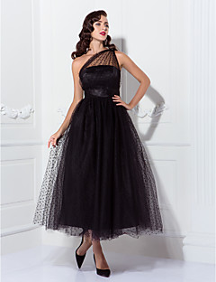 cheap Special Occasion Dresses-A-Line One Shoulder Ankle Length Tulle Little Black Dress / See Through / Vintage Inspired Cocktail Party / Formal Evening Dress with Sash / Ribbon / Pleats by TS Couture®