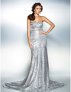 cheap Sequined Dresses-Mermaid / Trumpet Strapless Sweetheart Court Train Sequined Formal Evening Dress with Beading Sequin by TS Couture®