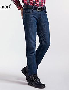 Menn Fritid / Arbeid Ensfarget Jeans,Polyester Blå
