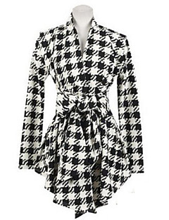 Women's V Neck Check Asym Hem Coat with Belt