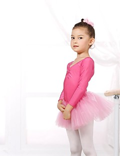 cheap Kids' Dancewear-Ballet Leotards Women's Children's Spandex Tulle Long Sleeve