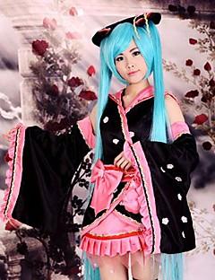 """billige Anime cosplay-Inspirert av Vokaloid Hatsune Miku Anime  """"Cosplay-kostymer"""" Cosplay Klær / Japansk Kimono Lapper Langermet Skjørte / Hodeplagg / Ermer Til Dame Halloween-kostymer / Satin"""