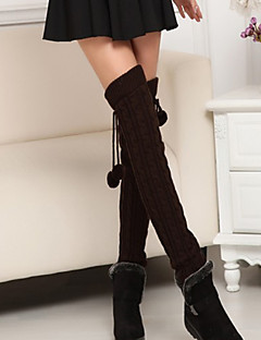 Women's Winter Thicken Knit Crochet over the Knee Plush Ball Socks Leg Warmers