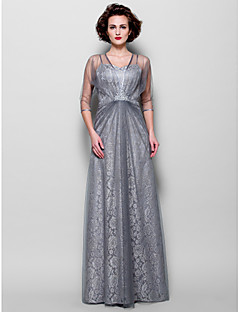 cheap Mother of the Bride Dresses-A-Line Spaghetti Straps Floor Length Lace Tulle Mother of the Bride Dress with Beading by LAN TING BRIDE®