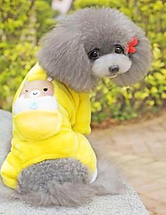 billiga Hundkläder-Hund Jumpsuits Pyjamas Hundkläder Tecknat Gul Cotton Kostym För husdjur Herr Dam Gulligt Ledigt/vardag