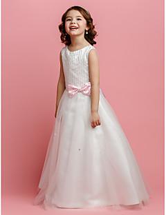 お買い得  妖精アンドプリンセスドレス-ランティングの花嫁®ライン/王女の床の長さのフラワーガールのドレス - サテン/ビーズ/弓とチュールノースリーブの宝石(複数可)
