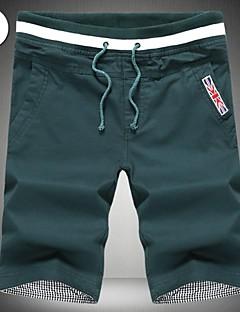 billige Herrebukser og -shorts-Herre Bomull Shorts Bukser Ensfarget Trykt mønster