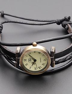 Damen Modeuhr Armband-Uhr Japanisch Quartz Echtes Leder Band Retro Böhmische Schwarz Khaki