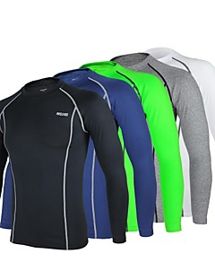 cheap Cycling Clothing-Arsuxeo Men's Long Sleeve Cycling Jersey - Navy Blue / Light Grey / Light Green Bike Jersey / Tights, Quick Dry, Anatomic Design,