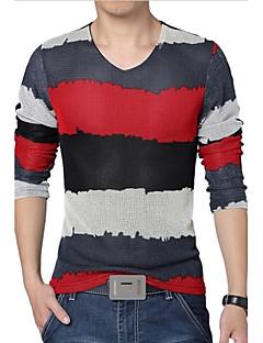 Herren T-shirt-Einfarbig Freizeit / Übergröße Baumwolle / Polyester / Gitter Lang-Blau / Grün / Rot