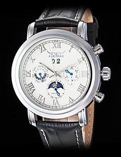 Herrn Mechanische Uhr Armbanduhr Automatikaufzug Kalender Leder Band Luxuriös Schwarz