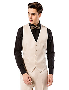 cheap Vests & Pants-Off-White Solid Polyester Tailored Fit Suit Vest