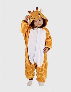 billige Kigurumi-Barne Sjiraff Onesie-pysjamas Polar Fleece Gul Cosplay Til Gutter og jenter Pysjamas med dyremotiv Tegnefilm Festival / høytid kostymer