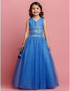 tanie Suknie księżniczki, wróżki-Balowa Sięgająca podłoża Sukienka dla dziewczynki z kwiatami - Tiul Bez rękawów W serek z Koraliki Dodatki kryształowe przez LAN TING