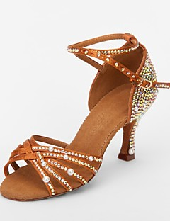 hesapli -Kadın's Latin Dans Ayakkabıları / Balo Saten Sandaletler Taşlı Kıvrımlı Topuk Kişiselletirilmemiş Dans Ayakkabıları Kahverengi / Süet