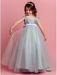 billige Skjørt-Ball kjole gulv lengde blomst jente kjole - tulle kort ermer kvadrat nakke ved lan ting bride®