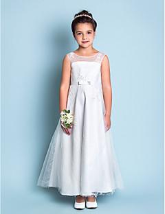 levne Šaty pro květinové družičky-A-line kotník délka kotníku dívka šaty - krajka bez rukávů šperk krk s krajkou lan ting bride®