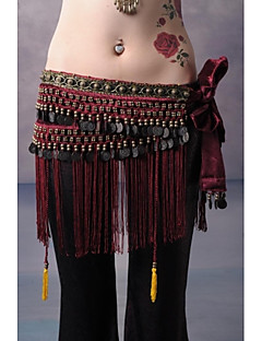 cheap Dance Accessories-Belly Dance Belt Unisex Training Performance Velvet Beading Copper Coin Tassel Dropped