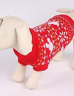 billiga Hundkläder-Katt Hund Tröjor Hundkläder Jul Snöflinga Röd Kostym För husdjur