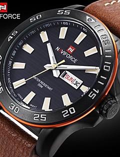 Pánské Náramkové hodinky Japonské Quartz Kalendář / Voděodolné Kůže Kapela Černá / Hnědá Značka- NAVIFORCE