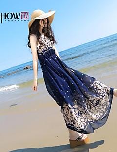 baratos Ponta de Estoque-MiShow ®women'sround colar boêmio estilo padrão foloral chiffon sem mangas vestido fino praia