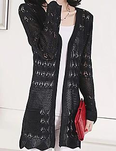 baratos Suéteres de Mulher-Mulheres Manga Longa Longo Carregam - Sólido