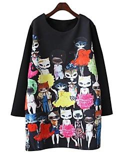 preiswerte -Damen T Shirt Kleid-Alltag Übergröße Niedlich Druck Rundhalsausschnitt Übers Knie Langarm Frühling Herbst Mittlere Hüfthöhe Dehnbar Dünn