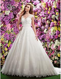 billiga A-linjeformade brudklänningar-A-linje V-hals Kapellsläp Spets Bröllopsklänningar tillverkade med Bård / Applikationsbroderi / Bälte / band av LAN TING BRIDE® / Genomskinliga