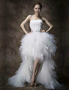 billiga Imperiumbrudklänningar-A-linje Golvlång Brudklänning - Vit Älsklingsringning Organza