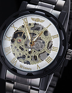WINNER גברים שעון יד שעון מכני מכני ידני חריתה חלולה מתכת אל חלד להקה שחור זהב לבן שחור