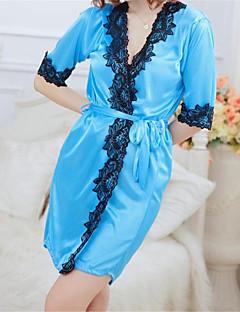 billige Moteundertøy-Dame Store størrelser Sexy Dress Ultrasexy Kjoler Blondeundertøy Nattøy - Lapper, Trykt mønster