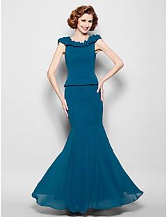 Mořská panna Klenot Na zem Žoržet Šaty pro matku nevěsty - Nabíraná sukně podle LAN TING BRIDE®