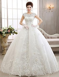 Ball Gown Illusion Neckline Floor Length Wedding Dress with Beading by Goodtimes