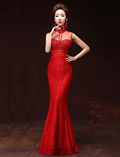 A-Line Illusion Neckline Floor Length Satin Formal Evening Dress with Pockets by Xiangnan