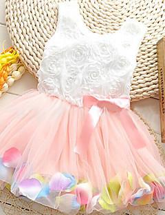 お買い得  子供用ファッション-女の子の コットン混 ドレス , 夏 グリーン / ピンク / パープル / レッド
