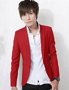 Erkeklerin Sade İş Pamuk Karışımı Uzun Kollu Blazer Ceket Siyah / Mavi / Pembe / Kırmızı